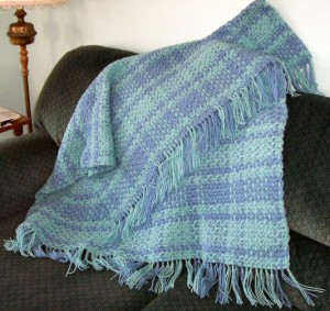 Blue Green Crocheted Blanket
